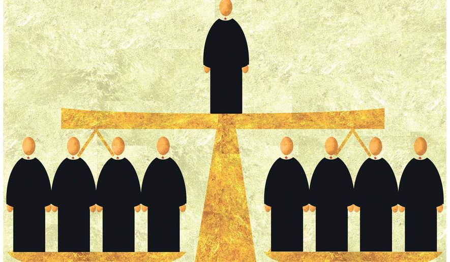 Illustration on one vote Supreme Court decisions by Alexander Hunter/The Washington Times