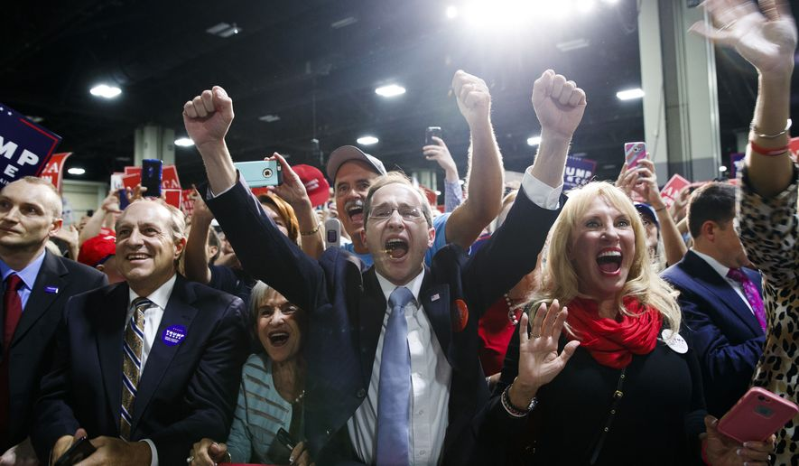 Donald Trump supporters cheer during a campaign rally Oct. 14 in Charlotte, North Carolina. (Associated Press) ** FILE **
