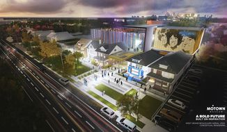 "This artist rendering provided by Identity shows plans for an expansion of the Motown Museum in Detroit that will include interactive exhibits, a performance theater and recording studios. The museum announced Monday, Oct. 17, 2016, it is planning the expansion that will be designed and built around the existing museum, which includes the Motown studio with its ""Hitsville U.S.A."" facade. (Motown Museum/Identity via AP)"