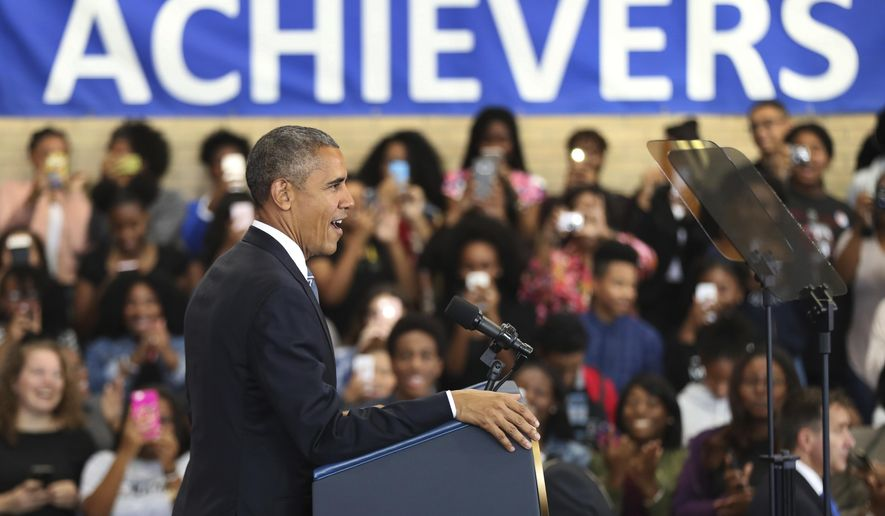 President Barack Obama speaks to students, teachers and invited guests at Benjamin Banneker Academic High School in Washington, Monday, Oct. 17, 2016, to highlight the progress his administration has made over the last eight years to improve education across the country. (AP Photo/Manuel Balce Ceneta)
