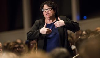 U.S. Supreme Court Associate Justice Sonia Sotomayor speaks before audience at Northrup Auditorium at the University of Minnesota on Monday, Oct. 17, 2016, in Minneapolis. Sotomayor said the high court continues to deeply feel the loss of Justice Antonin Scalia. (Renee Jones Schneider/Star Tribune via AP)