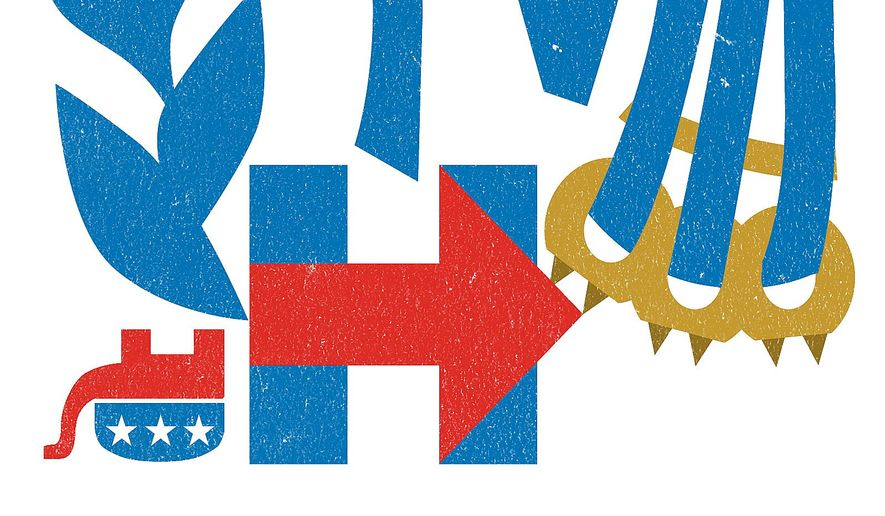 Illustration on the IRS under Hillary Clinton's presidency by Linas Garsys/The Washington Times