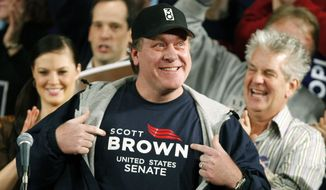 In this Jan. 17, 2010 file photo, former Boston Red Sox pitcher Curt Schilling shows his support for Massachusetts State Senator Scott Brown at a rally in Worcester, Mass., during a campaign rally to fill the U.S. Senate seat left empty by the death of Sen. Edward M. Kennedy, D-Mass. (AP Photo/Robert F. Bukaty, File)