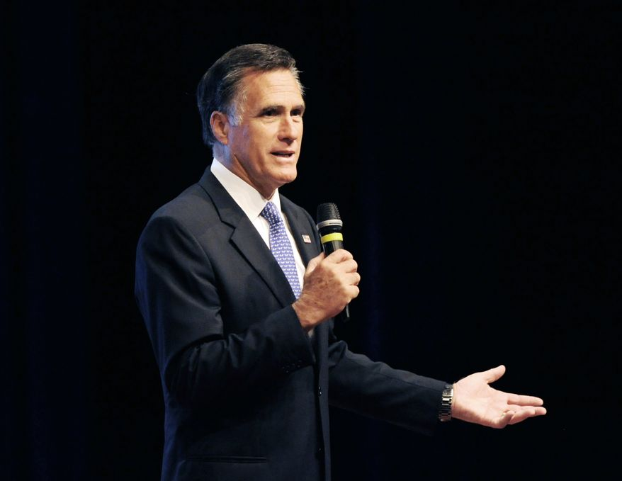 Former presidential candidate and governor Mitt Romney speaks during a meeting of The Economic Club of Southwestern Michigan Tuesday, Oct. 18, 2016, at Lake Michigan College's Mendel Center in Benton Harbor, Mich. (Don Campbell/The Herald-Palladium via AP) **FILE**