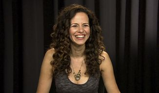 """In this Sept. 29, 2016 image taken from video, actress Mandy Gonzalez appears during an interview in New York. Gonzalez, a Broadway veteran of such shows as """"Wicked,"""" """"Aida"""" and """"In the Heights"""" replaced Renée Elise Goldsberry as Angelica Schuyler in Lin-Manuel Miranda's musical about Alexander Hamilton.  (AP Photo)"""