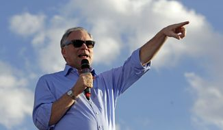 Democratic vice presidential candidate, Sen. Tim Kaine, D-Va., speaks during a campaign rally in Asheville, N.C., Wednesday, Oct. 19, 2016. (AP Photo/Chuck Burton)