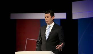 Incumbent congressional candidate Jason Chaffetz speaks during a debate for Utah's 3rd district of the United States Congress against Stephen Tryon, Wednesday, Oct. 19, 2016 at Utah Valley University in Orem, Utah. (Dominic Valente/Daily Herald via AP) **FILE**