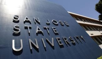 In this June 30, 2011, file photo is an exterior view of San Jose State University in San Jose, Calif. (AP Photo/Paul Sakuma, File)