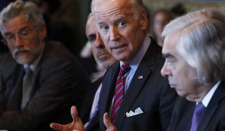 "FILE - In this Tuesday, Oct. 4, 2106, file photo, Vice President Joe Biden speaks during a meeting of the Cancer Moonshot Task Force in the Eisenhower Executive Office Building on the White House complex in Washington. Biden will speak Wednesday, Oct. 19, about the so-called ""Cancer Moonshot"" initiative at the Edward M. Kennedy Institute for the U.S. Senate in Boston. (AP Photo/Carolyn Kaster, File)"