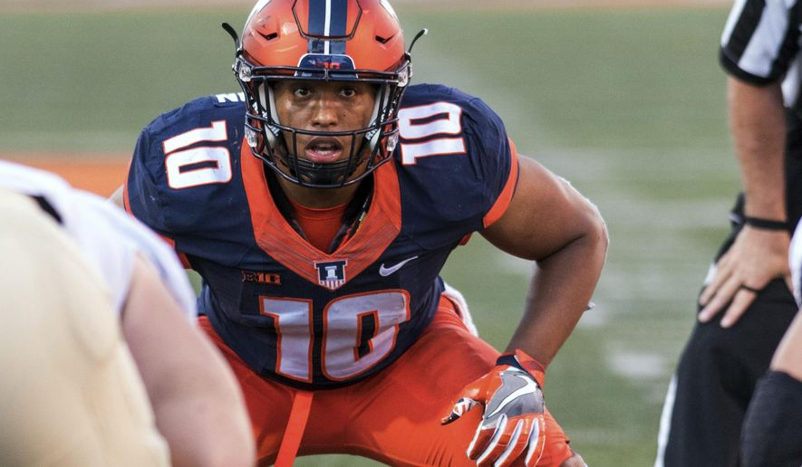 FILE- In this Saturday, Oct. 8, 2016, file photo, Illinois linebacker Hardy Nickerson (10) waits for the snap during an NCAA college football game against Purdue at Memorial Stadium in Champaign, Ill. When Nickerson decided to follow his father to Illinois before this season, he instantly gave the Illini a solid linebacker to plug into a defense that needed one. (AP Photo/Bradley Leeb, File)