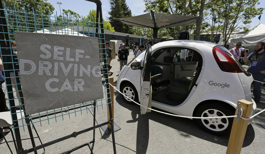 In this photo taken May 18, 2016, a Google self-driving car is seen on display at Google's I/O conference in Mountain View, Calif. California regulators are asking members of the public what they think about proposed regulations that would eventually permit self-driving cars that lack a steering wheel or pedals on public roads. The California Department of Motor Vehicles is hosting the hearing Wednesday, Oct. 19, 2016, in the state Capitol. (AP Photo/Eric Risberg)