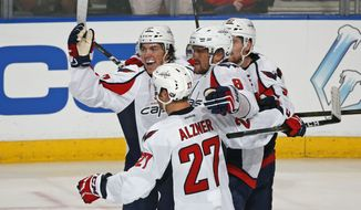 Washington Capitals left wing Alex Ovechkin (8) is congratulated by right wing T.J. Oshie (77), defenseman Karl Alzner (27), and center Evgeny Kuznetsov (92) after scoring the go ahead goal during the third period of an NHL hockey game against the Florida Panthers, Thursday, Oct. 20, 2016, in Sunrise, Fla. The Capitals defeated the Panthers 4-2. (AP Photo/Joel Auerbach)
