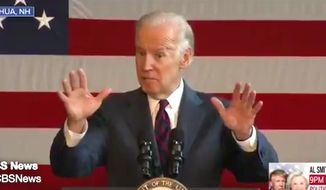 "U.S. Vice President Joseph R. Biden told a crowd in Nashua, New Hampshire, on Thursday, Oct. 20, 2016, that Donald Trump may be too ""stupid"" to understand the damage his campaign rhetoric does to trust in political institutions. (Twitter, CBS News)"