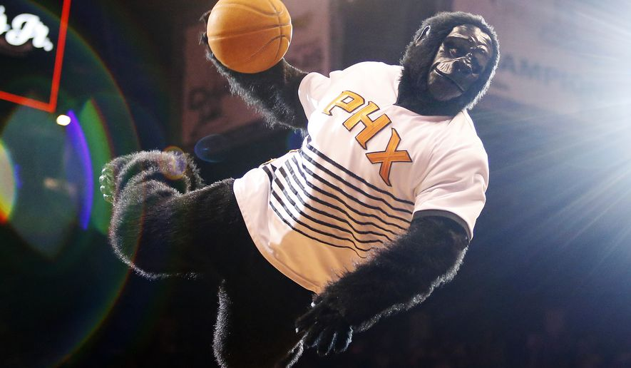 FILE -- In this March 9, 2015, file photo, the Phoenix Suns Gorilla mascot dunks at halftime during an NBA basketball game against the Golden State Warriors in Phoenix. The Gorilla is among the 10 pro and seven collegiate mascots that have been inducted into the Mascot Hall of Fame will be built in Whiting, Ind. (AP Photo/Rick Scuteri, File)