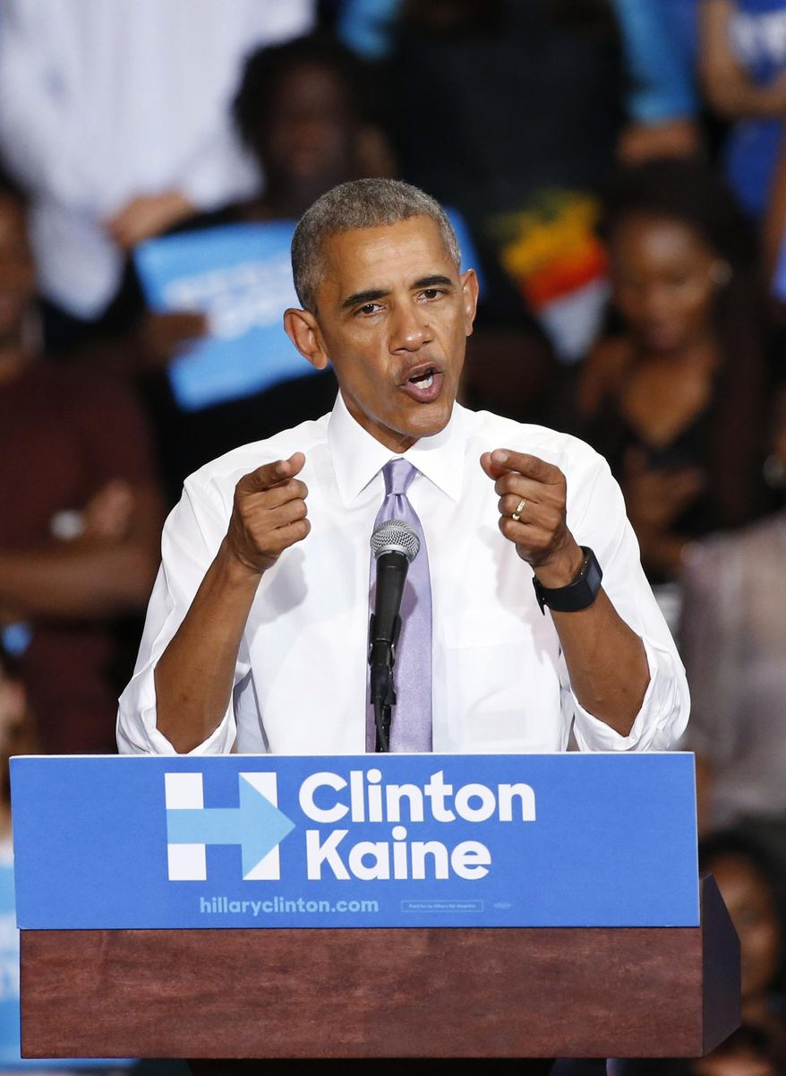 President Barack Obama gestures as he speaks at a campaign rally for Democratic presidential candidate Hillary Clinton at Florida Memorial University, Thursday, Oct. 20, 2016, in Miami Gardens, Fla. (AP Photo/Wilfredo Lee)