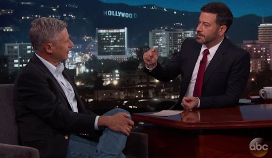 "Gary Johnson said Wednesday night on ""Jimmy Kimmel Live"" that the biggest lie told during the final presidential debate came from Hillary Clinton. (Jimmy Kimmel Live)"
