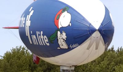 In this Monday, July 2, 2007, file photo, the MetLife Snoopy Two blimp comes in for a landing at the Park Township Airport in Holland, Mich. Snoopy has been handed the pink slip. After 31 years, almost 170 dog years, as the face of insurance giant MetLife Inc., the company said Thursday, Oct. 20, 2016, that it is launching a new global branding effort, marking the end of a long relationship with Charlie Brown's beagle and the Peanuts crew.  (Cory Olsen/The Grand Rapids Press via AP) **FILE**