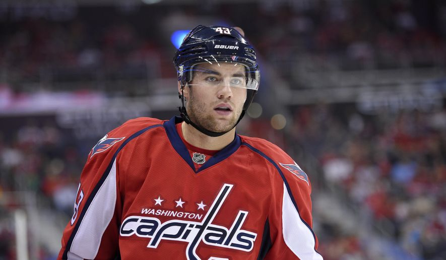 Washington Capitals right wing Tom Wilson (43) looks during the third period of an NHL hockey game against the Colorado Avalanche, Tuesday, Oct. 18, 2016, in Washington. The Capitals won 3-0. (AP Photo/Nick Wass)