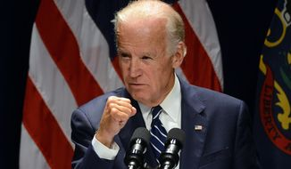 Vice President Joe Biden clinches his fist, during his speech regarding cancer research on Friday, Oct. 21, 2016, at The Commonwealth Medical College in downtown Scranton, Pa. (Butch Comegys/The Times & Tribune via AP)