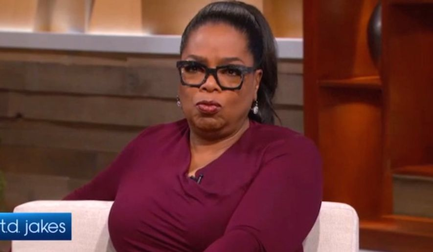 """Media mogul Oprah Winfrey gave an odd campaign pitch for Hillary Clinton by telling a """"TJ Jakes Show"""" crowd, """"You don't have to like her."""" The interview is set to air on OWN Oct. 27. (Oprah Winfrey Network screenshot)"""