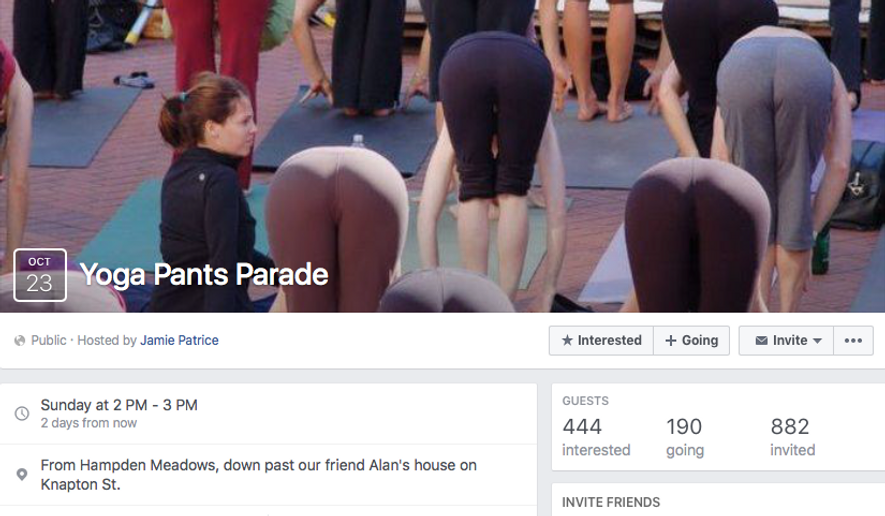 """A Facebook page planning a """"Yoga Pants Parade"""" for Sunday, Oct. 23 in Barrington, R.I., to protest a local man's letter-to-the-editor blasting the apparel choice as unsuitable for women over the age of 20. Screen capture from Facebook."""
