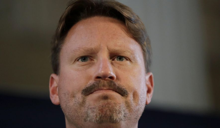 New York Giants head coach Ben McAdoo answers questions from journalists during a press conference at Syon House in Syon Park, south west London, Friday, Oct. 21, 2016. The Los Angeles Rams are due to play the New York Giants at Twickenham stadium in London on Sunday in a regular season NFL game. (AP Photo/Matt Dunham)