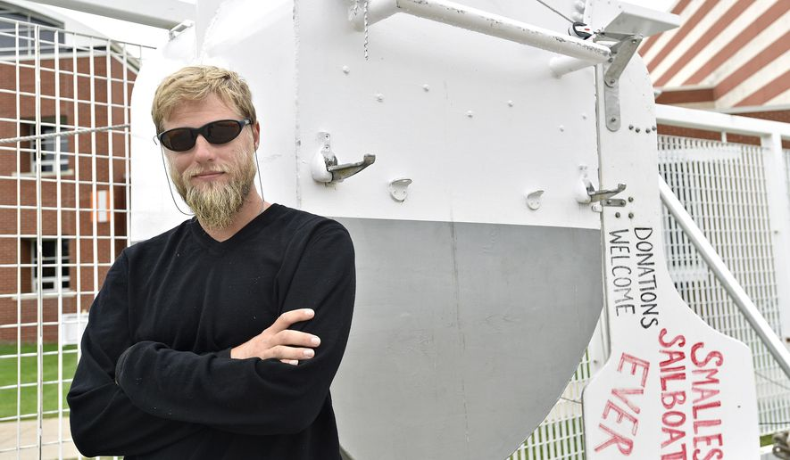 "In this Oct. 1, 2016 photo, Matt Kent, who has served on the crew of the U.S. Brig Niagara for the past eight years, poses in Erie, Pa. Kent will be attempting to cross the Atlantic Ocean March 1 in his 42-inch long sailboat ""The Undaunted."" If he is successful it will be the smallest sailboat to complete the crossing. Kent is attempting to raise money for science-based education programs at The Bioreserve, a nonprofit in Glenmont, N.Y.  (Dave Munch /Erie Times-News via AP)"