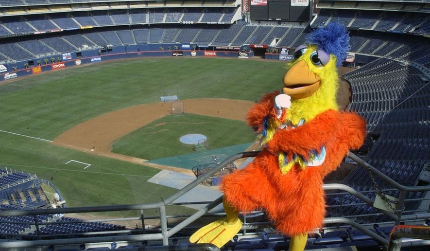 FILE - In this Sept. 25, 2003, file photo, Ted Giannoulas, the San Diego Chicken, poses in the upper deck above Qualcomm Stadium in San Diego. The San Diego Chicken is among the 10 pro and seven collegiate mascots that have been inducted into the Mascot Hall of Fame will be built in Whiting, Ind. (AP PHoto/Lenny Ignelzi, File)