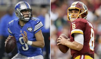 FILE - At left, in an Oct. 16, 2016, file photo, Detroit Lions quarterback Matthew Stafford looks downfield during the first half of an NFL football game against the Los Angeles Rams, in Detroit. At right, in an Oct. 2, 2016, file photo, Washington Redskins quarterback Kirk Cousins drops back to pass during an NFL football game against the Cleveland Browns, in Cleveland. The Redskins play the Lions Sunday at Ford Field for the first time since 2010. (AP Photo/File)