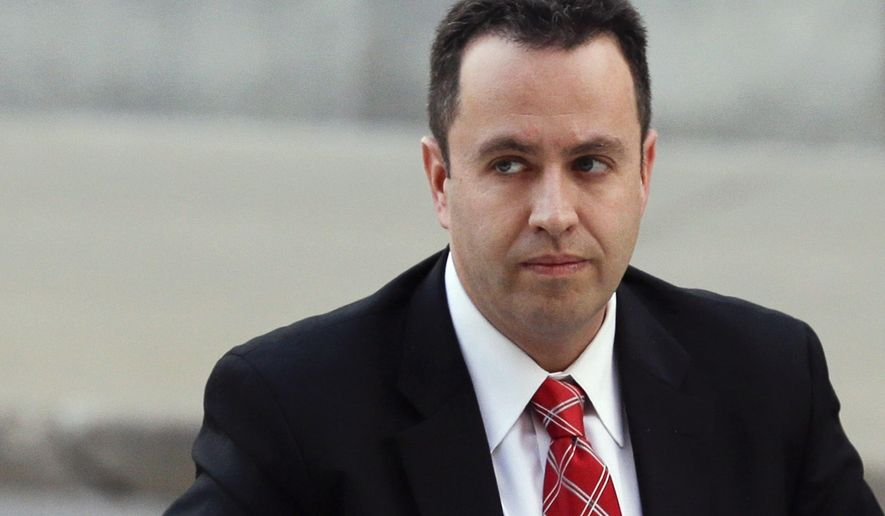 FILE - In this Nov. 19, 2015 file photo, former Subway pitchman Jared Fogle arrives at the federal courthouse in Indianapolis. The family of a girl who accused Fogle in a child pornography case that led to the former Subway pitchman's imprisonment is dropping a lawsuit against him. A motion filed Thursday, Oct. 20, 2016, in federal court in Indianapolis requested that the lawsuit be dismissed with prejudice, meaning it cannot be brought back to court. (AP Photo/Michael Conroy, File)