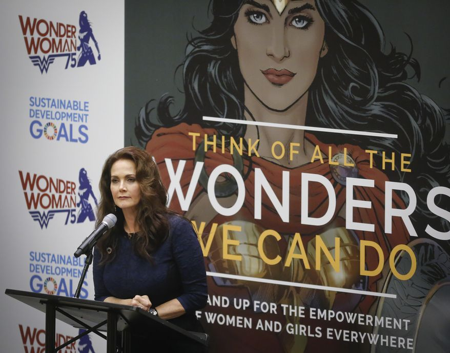 "In this file photo, Lynda Carter, who played Wonder Woman on television, speaks during a U.N. meeting to designate Wonder Woman as an ""Honorary Ambassador for the Empowerment of Women and Girls,"" Friday, Oct. 21, 2016 at U.N. headquarters.  On June 22, 2017, the Hollywood Walk of Fame announced that Ms. Carter was one of 24 inductees into the Hollywood landmark's Class of 2018. (AP Photo/Bebeto Matthews) **FILE**"