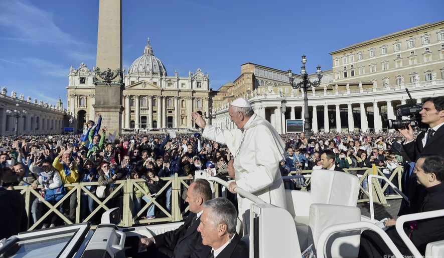 "Pope Francis waves to faithful during a jubilee audience in St. Peter's Square, at the Vatican Saturday, Oct. 22, 2016. (L""osservatore Romano/Pool Photo via AP)"