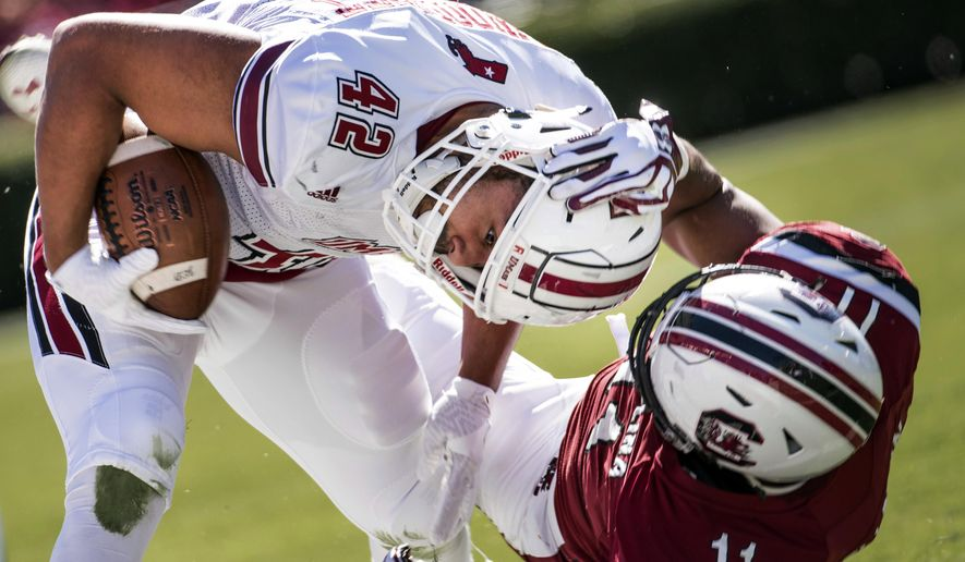 South Carolina linebacker T.J. Holloman (11) tackles Massachusetts fullback John Robinson-Woodgett (42) during the first half of an NCAA college football game Saturday, Oct. 22, 2016, in Columbia, S.C. (AP Photo/Sean Rayford)