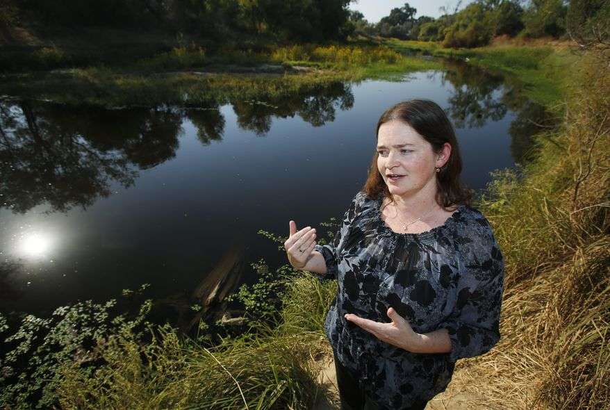 In this Sept. 28, 2016, photo, Elizabeth Vasquez of the U.S. Bureau of Reclamation explains efforts to return water to parts of the San Joaquin River that have long been dry during a tour of the confluence of the San Joaquin and Merced rivers in Stanislaus County, Calif. A decade ago, environmentalists and the federal government agreed to revive a 150-mile stretch of California's second-longest river, an ambitious effort aimed at allowing salmon to again swim up to the Sierra Nevada foothills to spawn. (AP Photo/Gary Kazanjian)