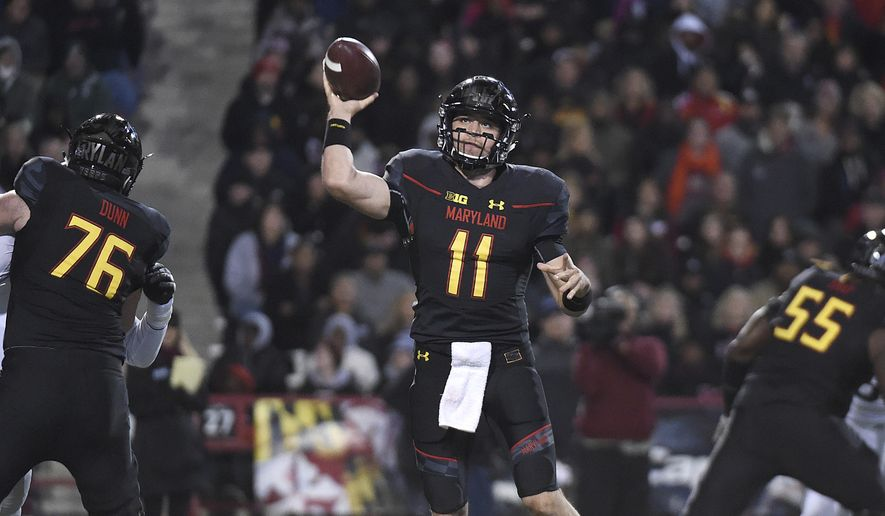 Maryland quarterback Perry Hills throws a pass in the first half in an NCAA college football game against Michigan State, Saturday, Oct. 22, 2016, in College Park, Md.(AP Photo/Gail Burton)