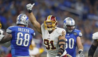Washington Redskins outside linebacker Ryan Kerrigan reacts after a tackle during the first half of an NFL football game against the Detroit Lions, Sunday, Oct. 23, 2016 in Detroit. (AP Photo/Paul Sancya) **FILE**