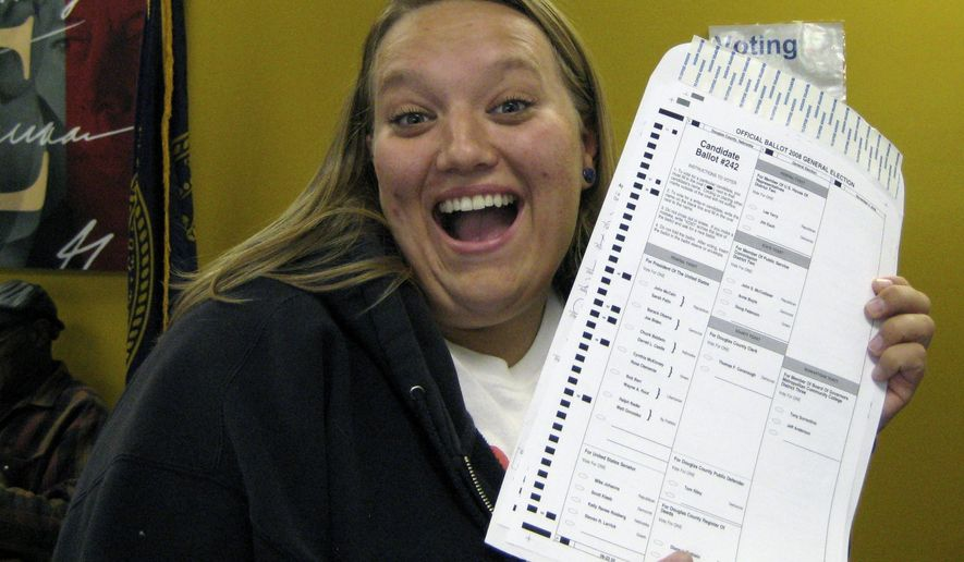 In this Oct. 20, 2008, photo provided by Nikola Halycyone Jordan, Jordan poses with her election ballot in Omaha, Neb. Jordan believes the selfies are a great way not only to share her views on the issues, but also to stress the importance of voting and being civically active. A Nebraska lawmaker added a provision to state election law in 2016 to allow ballot selfies. (Mari Zaporowski/Courtesy of Nikola Halycyone Jordan via AP) ** FILE **