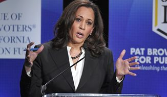 FILE - In this Oct. 5, 2016 file photo, Democratic California U.S. Senate candidate California Attorney General Kamala Harris speaks during a debate against Congresswoman Loretta Sanchez, not shown, in Los Angeles. Come Election Day, California could legalize pot smoking. The state's new U.S. senator will be black or Hispanic, a first. Voters could end the death penalty, and revive bilingual education in schools. Behind it all, a wave of new voters - many younger, Hispanic, or both - is contributing to generational, demographic and cultural shifts that are being witnessed on the Nov. 8 ballot. (AP Photo/Mark J. Terrill, File)