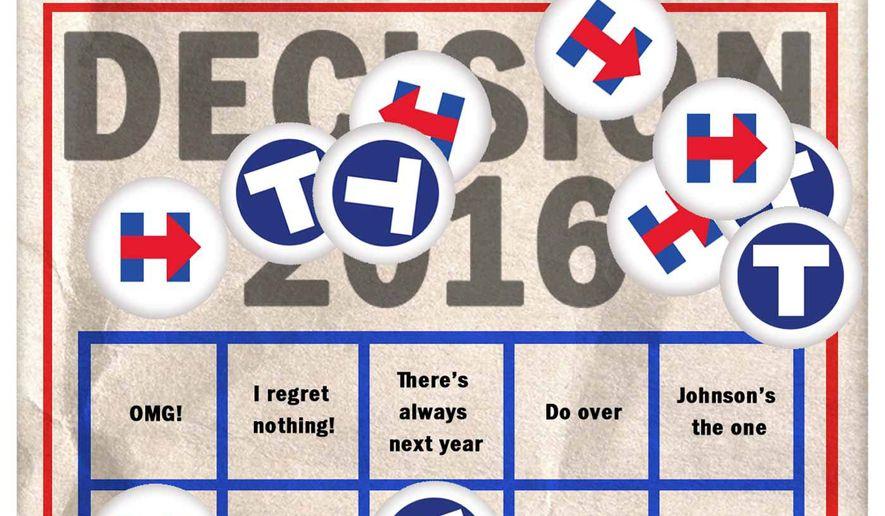 Illustration on voter regret by Alexander Hunter/The Washington Times