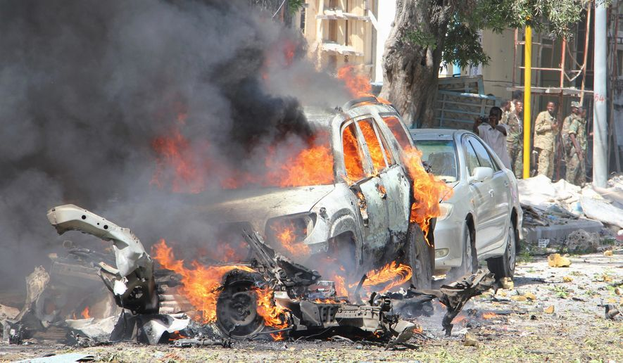 A deadly car bombing in Somalia this month is a warning from the al-Shabab terrorist group, which threatens to disrupt presidential elections. (Associated Press)