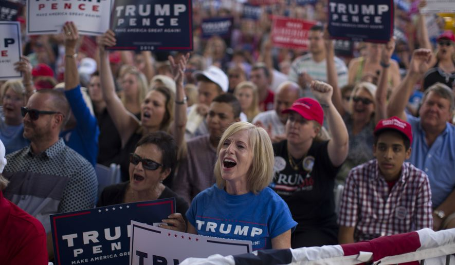 Supporters of Republican presidential candidate Donald Trump cheer during a campaign rally, Monday, Oct. 24, 2016, in St. Augustine, Fla. (AP Photo/ Evan Vucci)