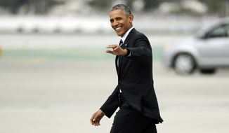 President Barack Obama waves as he walks to Marine One after arriving at the Los Angeles International Airport Monday, Oct. 24, 2016, in Los Angeles. (AP Photo/Jae C. Hong) **FILE**