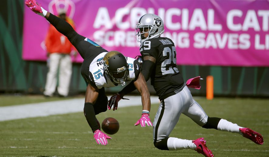 Oakland Raiders cornerback David Amerson (29) interferes with Jacksonville Jaguars wide receiver Allen Robinson (15) on a pass attempt during the second quarter of an NFL football game Sunday, Oct. 23, 2016, in Jacksonville, Fla. Amerson was called for a penalty. (AP Photo/Stephen B. Morton)