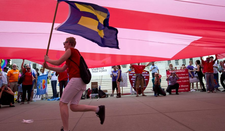 "FILE - In this June 26, 2015, file photo, a supporter of same-sex marriage runs with an ""equality"" flag under a larger ""equality"" drape outside of the Supreme Court in Washington, before the court declared that same-sex couples have a right to marry anywhere in the U.S. Same-sex marriage is now the law of the land, but there are other battlegrounds related to civil rights and non-discrimination protections for lesbians, gays, bisexuals and transgender people. Two polarizing questions: What sort of access should transgender people have to public bathrooms? And are the advances for LGBT rights infringing on the religious freedom of some Americans? (AP Photo/Jacquelyn Martin, File)"