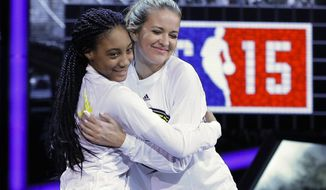 """FILE - In this Feb. 13, 2015, file photo, Kristen Ledlow, right, hugs Mo'ne Davis as they are announced before the NBA All-Star celebrity basketball game in New York. Ledlow said on social media Oct. 23, 2016, that she was robbed at gunpoint. Ledlow is the host of """"NBA Inside Stuff"""" on NBA TV. (AP Photo/Frank Franklin II, File)"""
