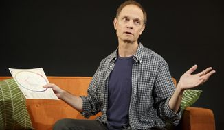 "This image released by The Publicity Office shows David Hyde Pierce during a performance of ""A Life,"" off-Broadway at Playwrights Horizons in New York.  (Joan Marcus/The Publicity Office via AP)"