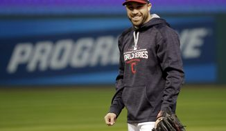 Cleveland Indians second baseman Jason Kipnis warms up during a team practice for baseball's upcoming World Series against the Chicago Cubs on Monday, Oct. 24, 2016 in Cleveland. (AP Photo/David J. Phillip)
