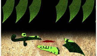 Illustration on the results of defeating the Islamic State by Alexander Hunter/The Washington Times