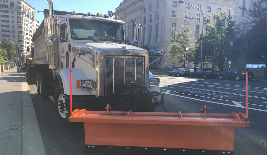The D.C. government has its snow plows ready to roll this winter to combat snow on local roadways. A mild winter is predicted, and the city claims to be ready for snow events. (Ryan M. McDermott/The Washington Times)