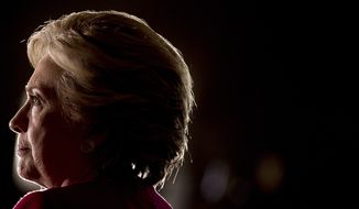 Democratic presidential candidate Hillary Clinton pauses while speaking at a rally at Broward College in Coconut Creek, Fla., Tuesday, Oct. 25, 2016. (AP Photo/Andrew Harnik)